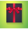 Black box red ribbon bow vector image