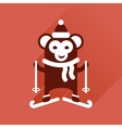 Flat icon with long shadow monkey skiing vector image