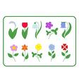 Tree cartoon flower icons set vector image