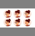 business woman avatar woman face emotions vector image
