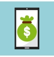 money online from a smartphone isolated icon vector image