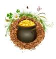 Pot of gold in ground Hidden treasure vector image