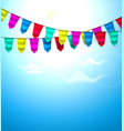 realistic bunting 3d flag cloud sky vector image