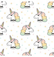 seamless pattern with unicorn and stars vector image
