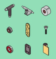 skateboard spare parts icons vector image