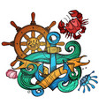 the ships anchor steering wheel and crab tattoo vector image