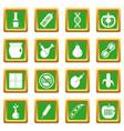 gmo icons set green vector image