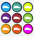 Jeep icon sign Nine multi colored round buttons vector image