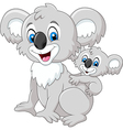 Cartoon baby Koala on Mother Back vector image