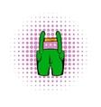 Short green pants icon comics style vector image