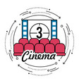 cinema room with film countdown number 3 vector image