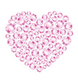 Heart of pink shiny diamonds vector image