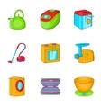 Appliances icons set cartoon style vector image