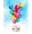 Holiday background with colorful balloons and open vector image vector image