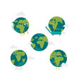 cartoon flat globe character set isolated vector image