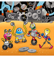 Robots with background vector image