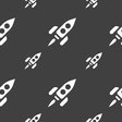 Rocket icon sign Seamless pattern on a gray vector image