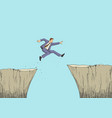 cartoon of a man jumps from the ravine vector image