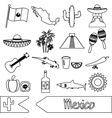 Mexico country theme symbols outline icons set vector image