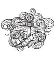 the ships anchor and crab tattoo monochrome for vector image