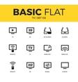 Basic set of TV icons vector image
