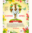 easter crucifix cross and paschal wreath vector image