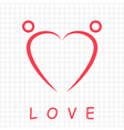 Two happy people formed heart shape vector image