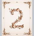 retro vintage letter number in a frame vector image vector image