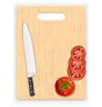 Red tomato slices and knife on the chopping board vector image