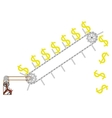 conveyor lifts the dollar vector image