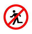 No Run Sign on white background vector image