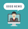 Business man from monitor screen talk good news vector image
