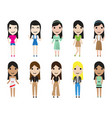 casual set woman characters with long hair in vector image