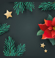 christmas banner with poinsettia and fir branches vector image