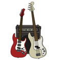 Electric guitars and the combo vector image
