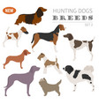 hunting dog breeds set icon isolated on white vector image