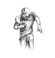line sketch of american football player vector image