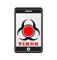mobile phone with virus vector image