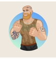 Strong man fighter fist vector image