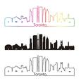 Toronto V2 skyline linear style with rainbow vector image