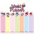 weekly planner note template with happy clowns vector image