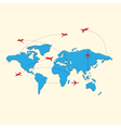 World travel map with airplanes vector image