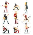 Rock Band Members Funny Characters Set vector image