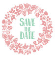 save the date with pastel wreath card isolated vector image vector image