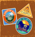 Vintage travel stickers 1 vector image