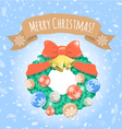 Christmas Wreath on Snowy Background vector image