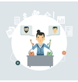Accountant calling clients and partners vector image