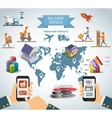 Logistic chain shipping freight service supply vector image