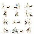Man Dog Training Playing Pet Stick vector image