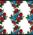 seamless pattern a gun and roses on a white vector image